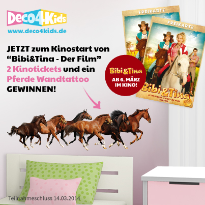 2 x kinotickets bibi tina 1 x xxl pferde wandtattoo gewinnspiel wahnsinn. Black Bedroom Furniture Sets. Home Design Ideas
